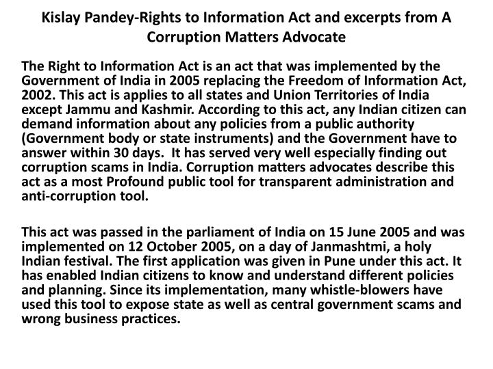 kislay pandey rights to information act and excerpts from a corruption matters advocate n.
