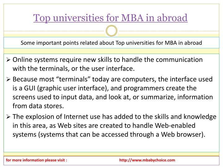 Top universities for mba in abroad