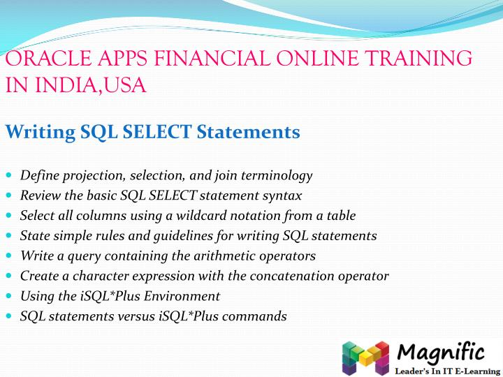 ORACLE APPS FINANCIAL ONLINE TRAINING IN