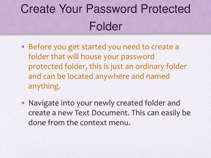 Create Your Password Protected Folder