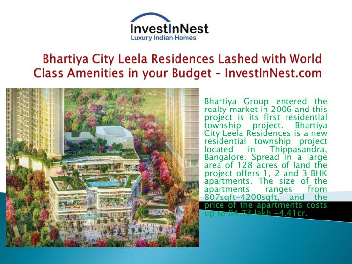 Bhartiya city leela residences lashed with world class amenities in your budget investinnest com1