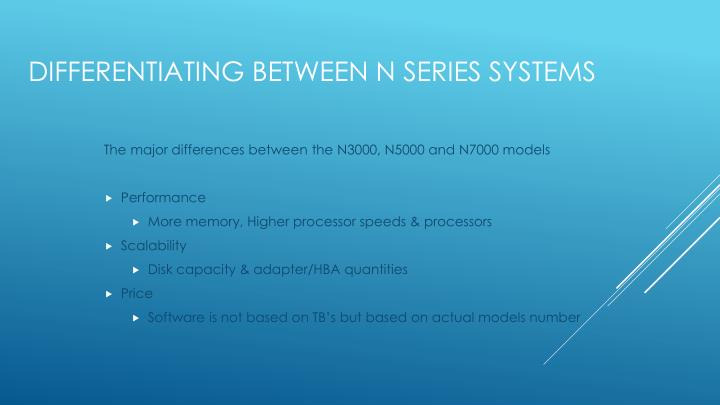 The major differences between the N3000, N5000 and N7000 models