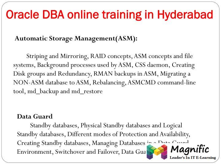 Oracle DBA online training in Hyderabad