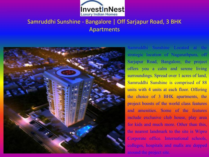 samruddhi sunshine bangalore off sarjapur road 3 bhk apartments n.