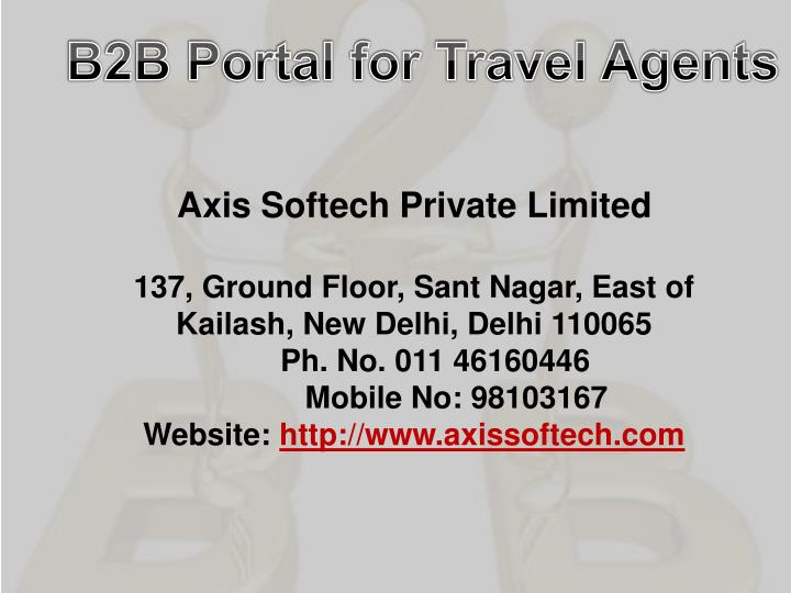 B2B Portal for Travel Agents