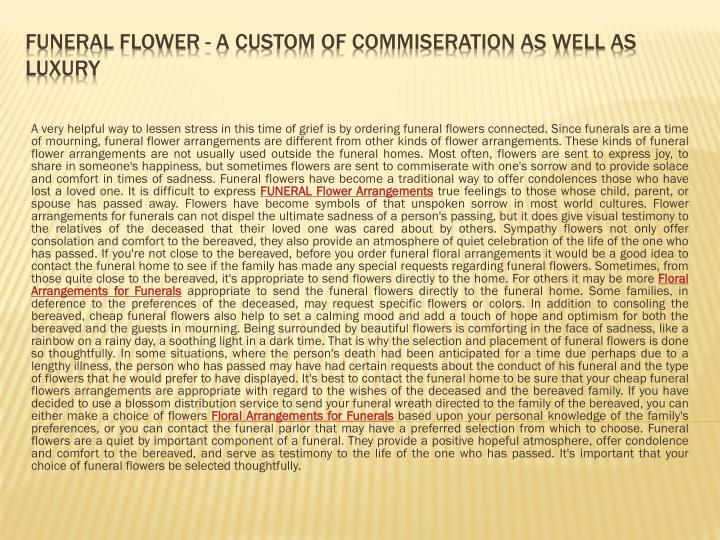 funeral flower a custom of commiseration as well as luxury n.