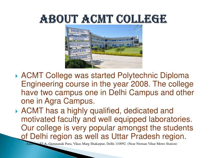 About acmt college