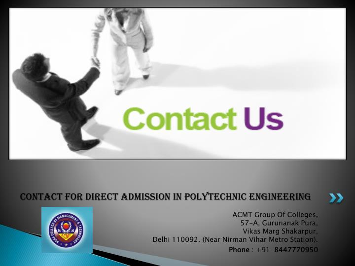 Contact For Direct Admission in Polytechnic Engineering