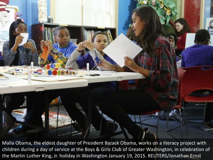Malia Obama, the eldest daughter of President Barack Obama, works on a literacy project with children during a day of service at the Boys & Girls Club of Greater Washington, in celebration of the Martin Luther King, Jr. holiday in Washington January 19, 2015. REUTERS/Jonathan Ernst