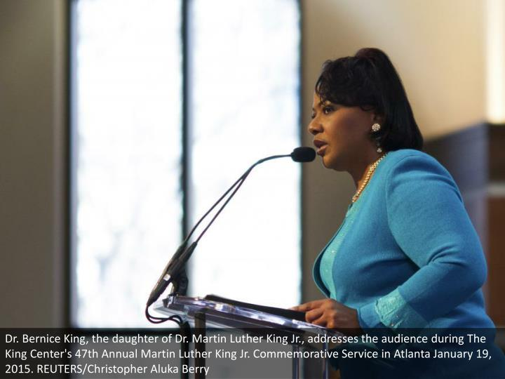 Dr. Bernice King, the daughter of Dr. Martin Luther King Jr., addresses the audience during The King Center's 47th Annual Martin Luther King Jr. Commemorative Service in Atlanta January 19, 2015. REUTERS/Christopher Aluka Berry