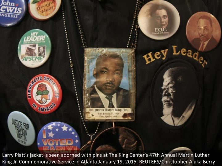 Larry Platt's jacket is seen adorned with pins at The King Center's 47th Annual Martin Luther King J...