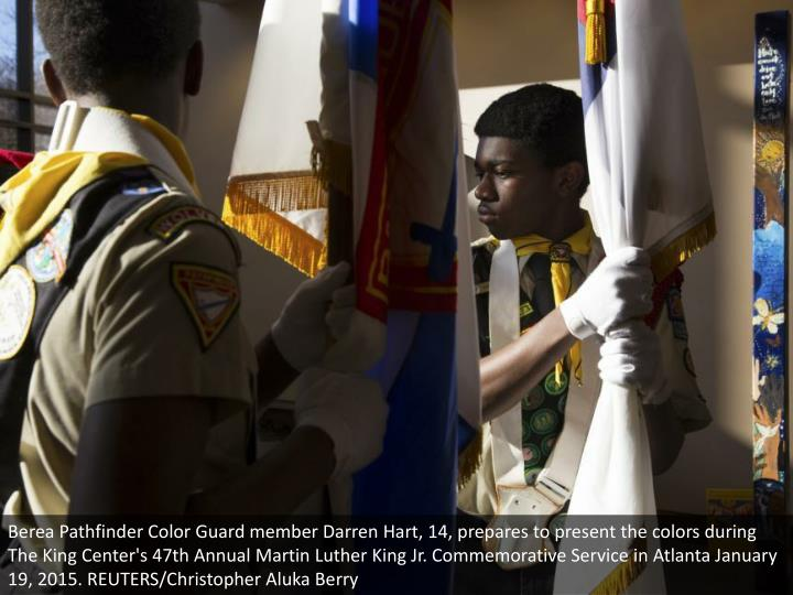 Berea Pathfinder Color Guard member Darren Hart, 14, prepares to present the colors during The King Center's 47th Annual Martin Luther King Jr. Commemorative Service in Atlanta January 19, 2015. REUTERS/Christopher Aluka Berry