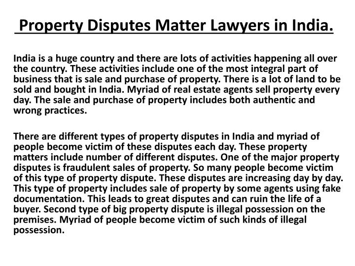 property disputes matter lawyers in india n.
