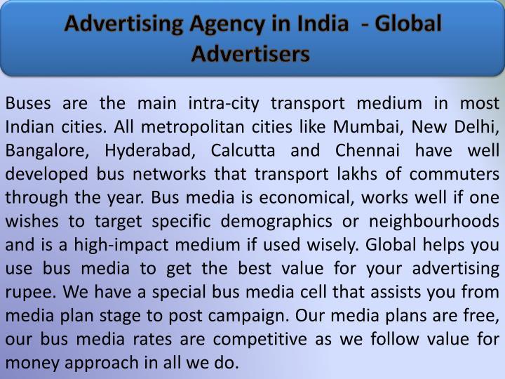 Advertising agency in india global advertisers