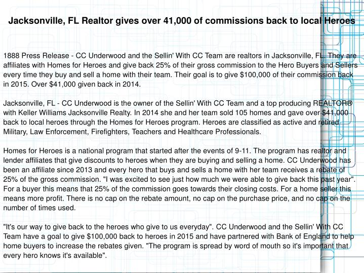 Jacksonville, FL Realtor gives over 41,000 of commissions back to local Heroes