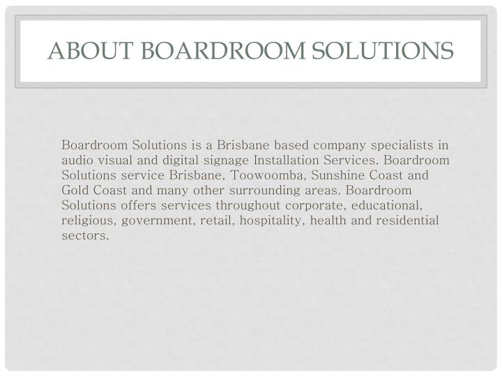 About boardroom solutions