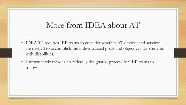 More from IDEA about AT