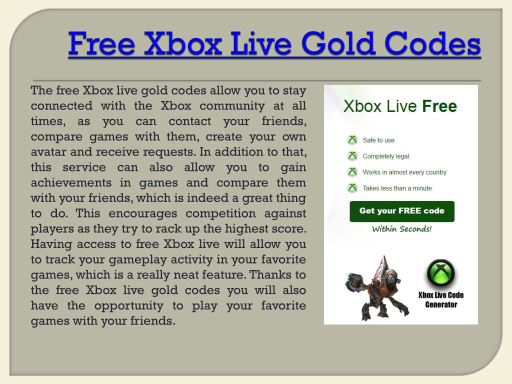PPT - Xbox Live Gold Free PowerPoint Presentation - ID:7117408