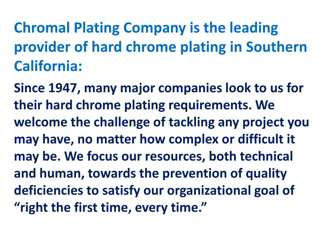 PPT - Welcome to Chromal Plating Company PowerPoint