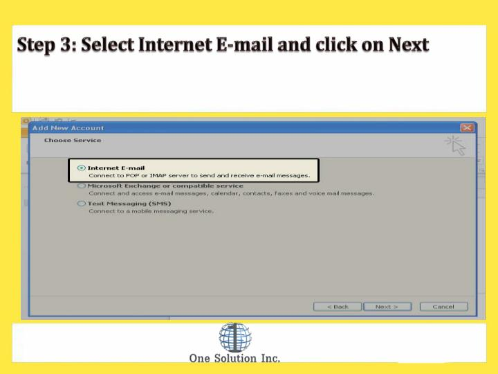 Step 3: Select Internet E-mail and click on Next