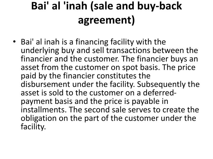 Bai al inah sale and buy back agreement