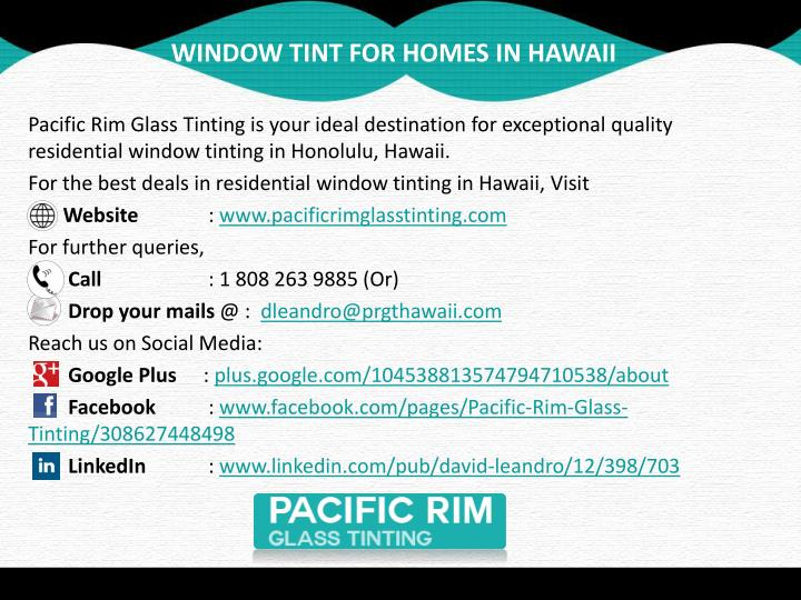 WINDOW TINT FOR HOMES IN HAWAII