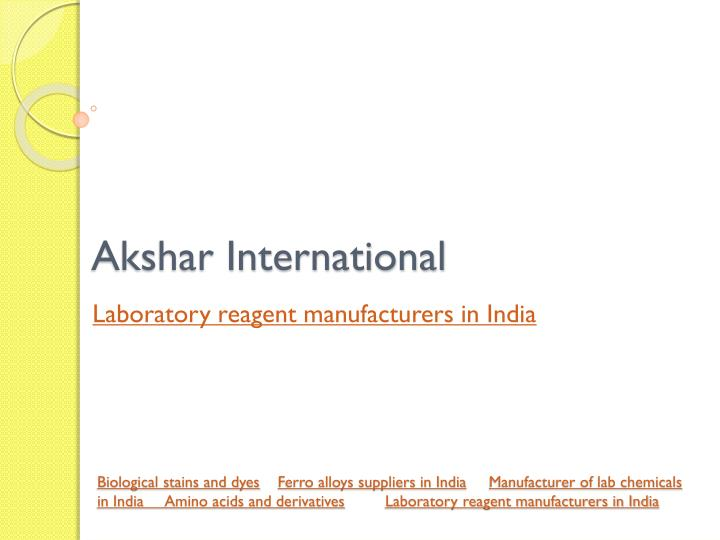 PPT - lab chemical suppliers in India PowerPoint