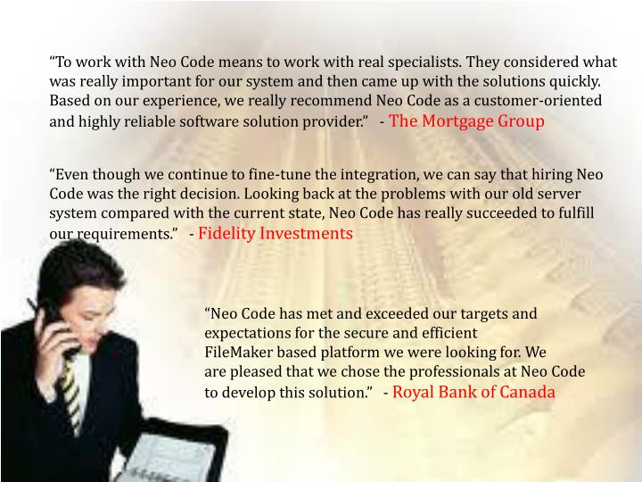 """""""To work with Neo Code means to work with real specialists. They considered what was reallyimportant for our system and then came up with the solutions quickly. Based on our experience, we reallyrecommend Neo Code as a customer-oriented and highly reliable software solution provider"""