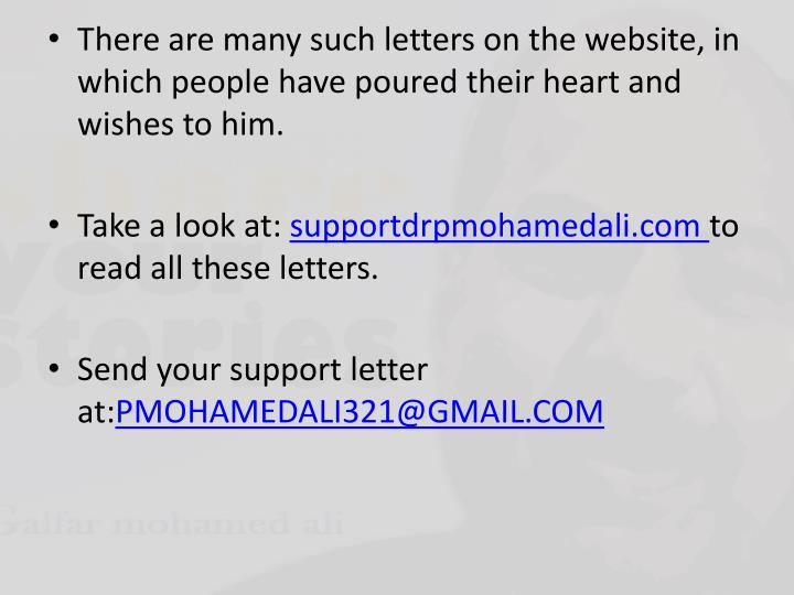 There are many such letters on the website, in which people have poured their heart and wishes to him.