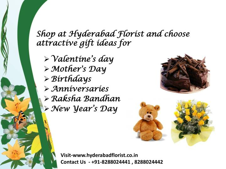 shop at hyderabad florist and choose attractive gift ideas for n.