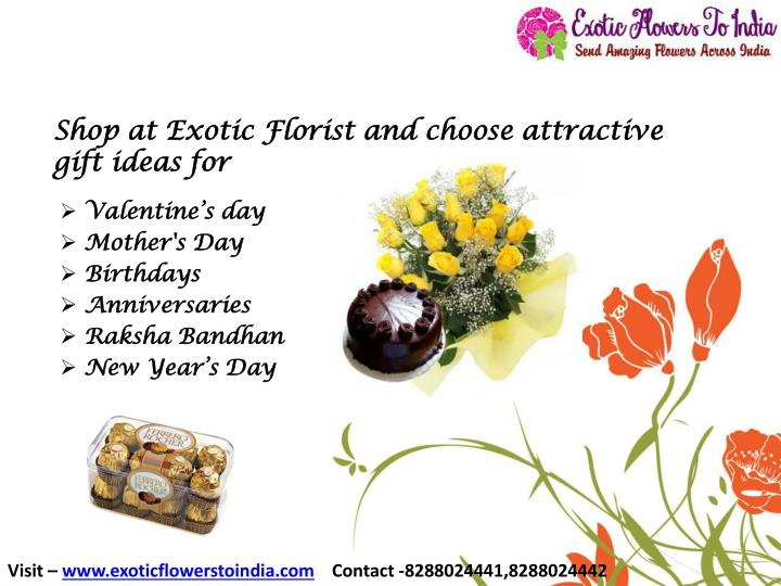 shop at exotic florist and choose attractive gift ideas for n.