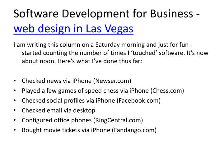 Software development for business web design in las vegas