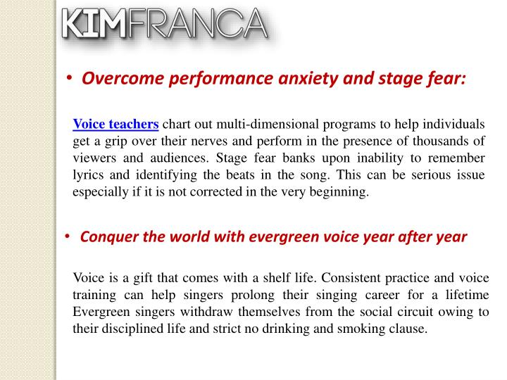 Overcome performance anxiety and stage
