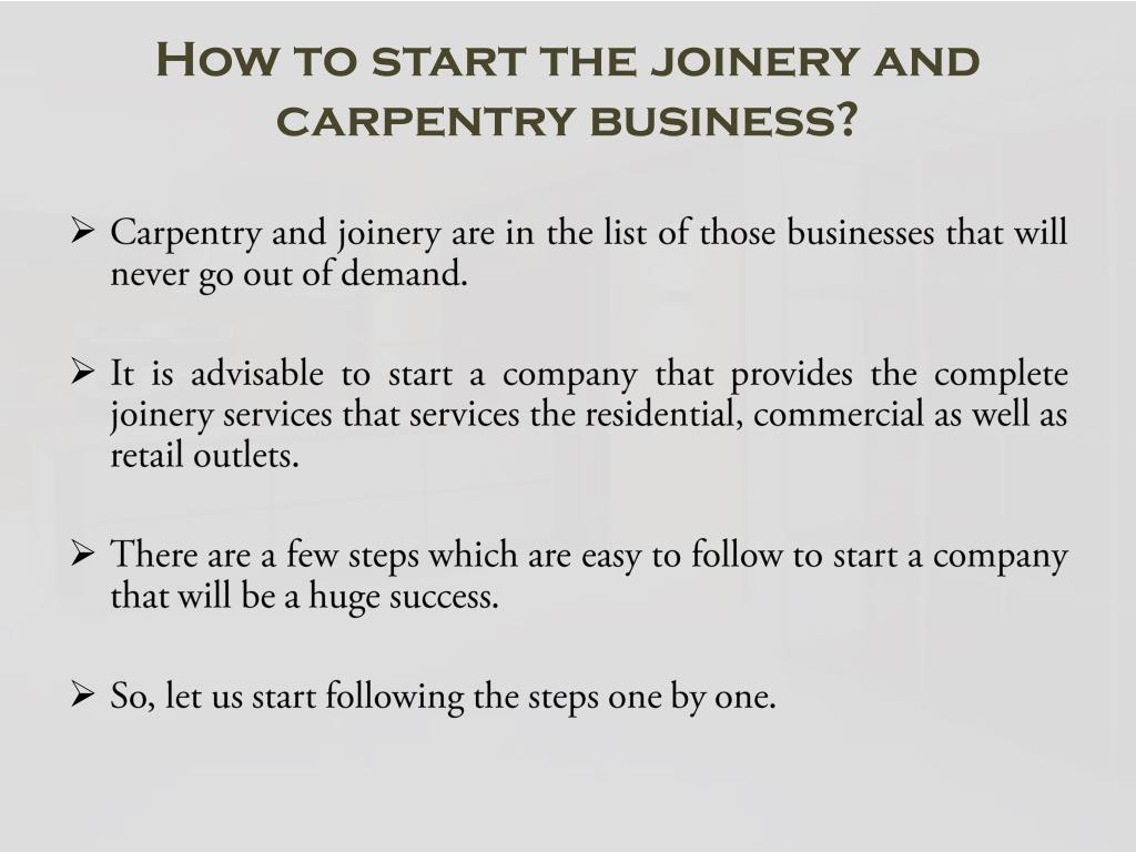 PPT - How to start the joinery and carpentry business
