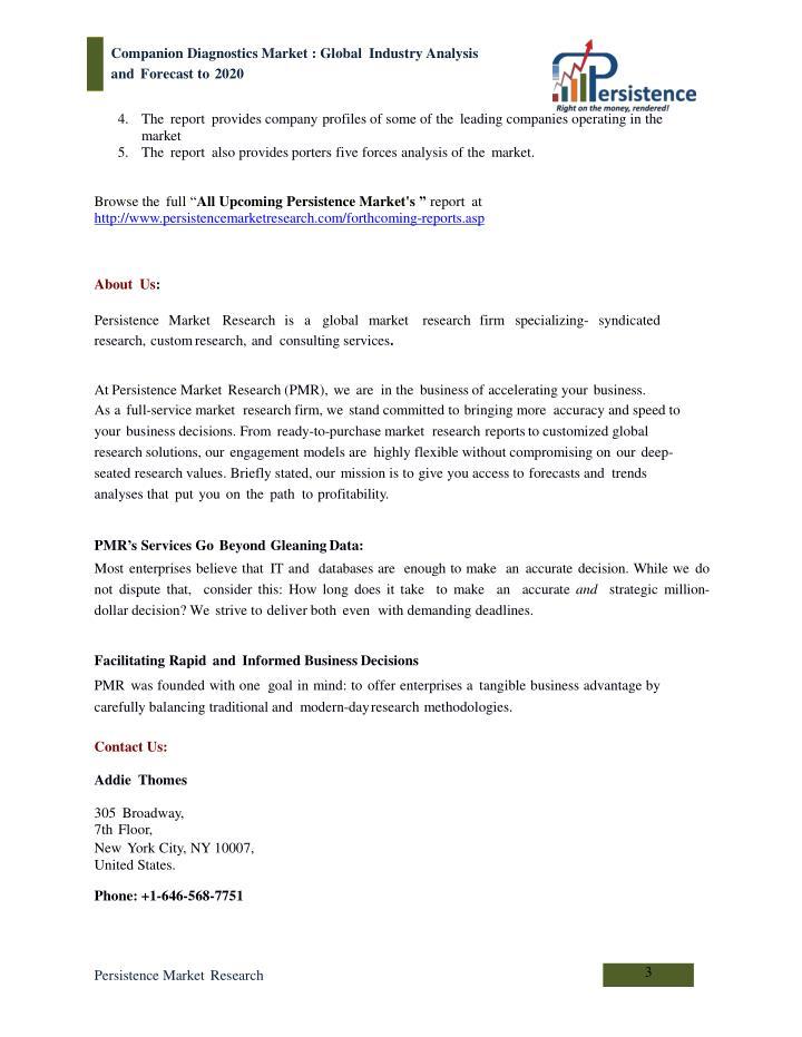 Global companion diagnostics market analysis to 2020