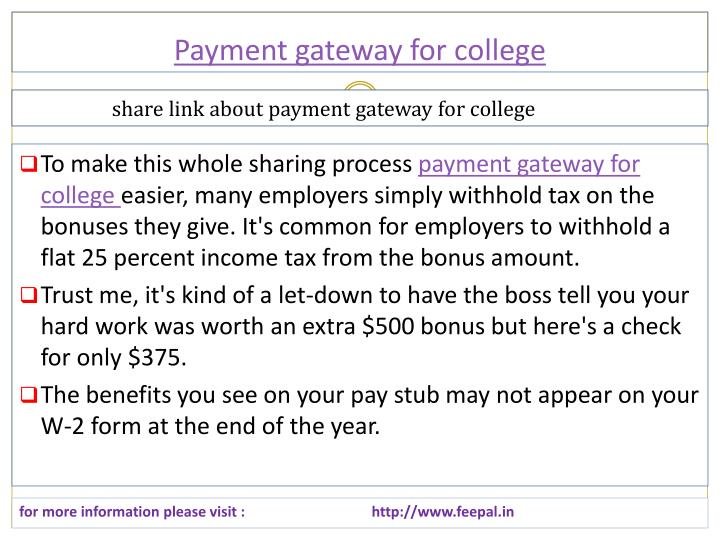 Payment gateway for college
