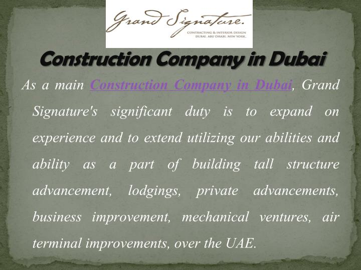 construction company in dubai n.