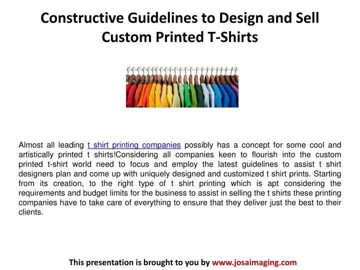 Ppt constructive guidelines to design and sell custom for Create and sell t shirts online